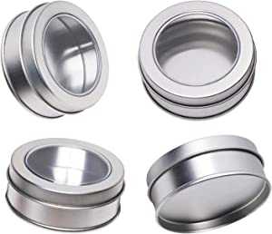 Mini Skater 2 Ounce Clear Top Window Metal Tin Cans High Grade of Transparency Round Screw Lid Empty Box Containers for Candies,Bead, Balms and Jewelry,4PCS (Silver)