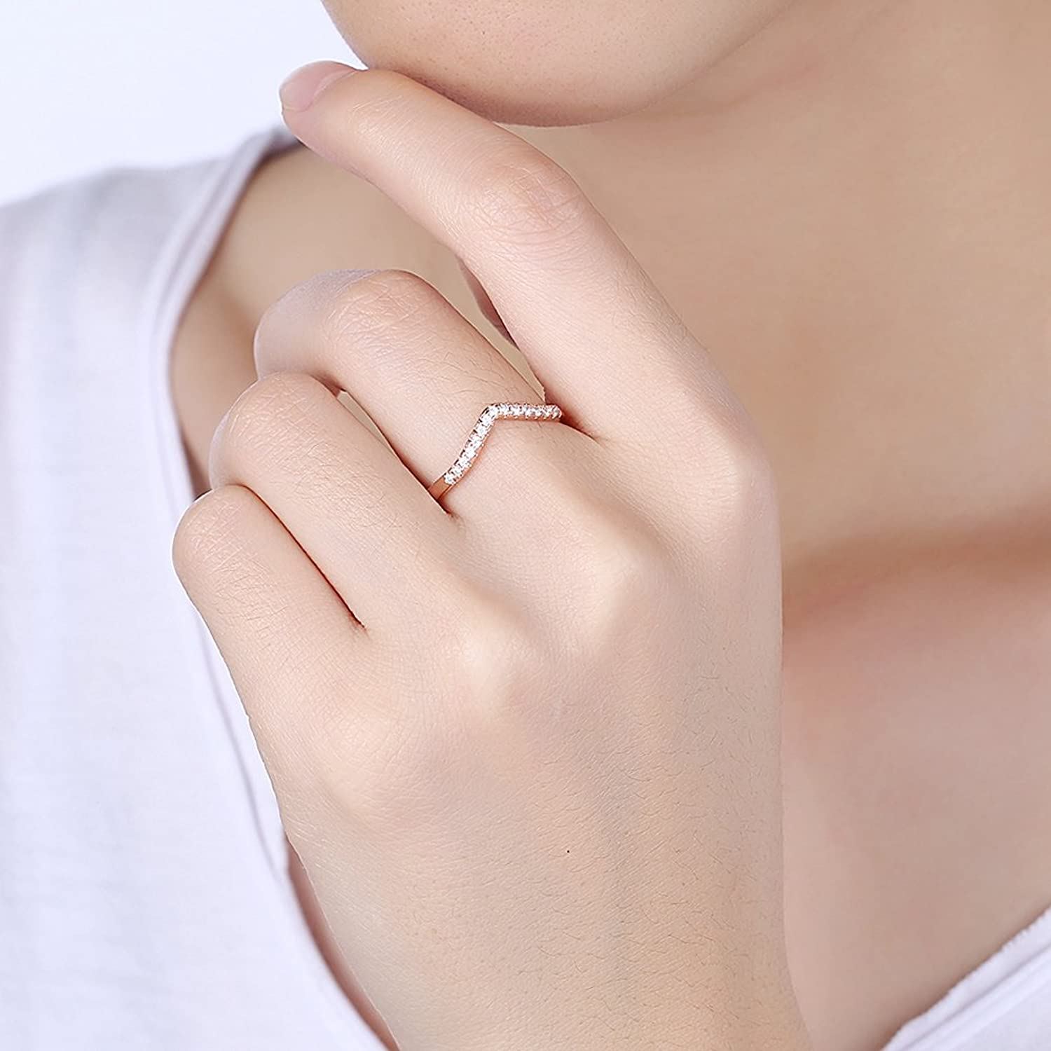 Rose Gold Chevron Pointed Ring Rhodium Plated Lovely Elegant ...