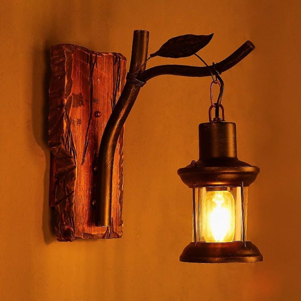 IG Wandleuchte Einzelkopf Industrie Vintage Retro Holz Metall Malerei Farbe Wandleuchte für Das Haus Hotel   Korridor dekorieren Wandleuchte