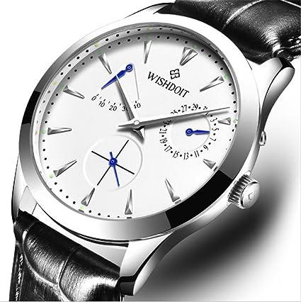 WISHDOIT Relojes Automáticos Mecánicos Relojes Correa De Cuero Relojes De Hombre , Silver