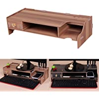 Wooden Monitor Stand Riser Computer Desk Organizer with Keyboard Mouse Storage Slots
