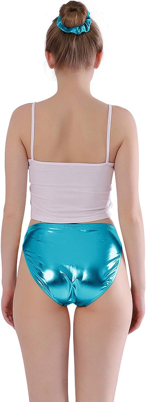 Kepblom Women Shiny Metallic Panty Briefs High Cut Ballet Dance Underwear Shorts