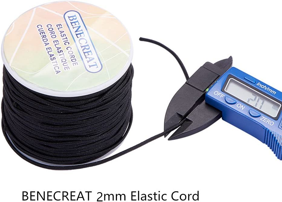 1mm, White BENECREAT 1mm 100 Yard Elastic Cord Stretch Thread Beading Cord Fabric Crafting String