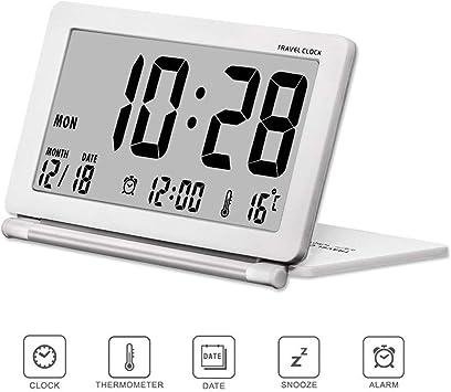 Pequeño reloj despertador digital que funciona con pilas para ...