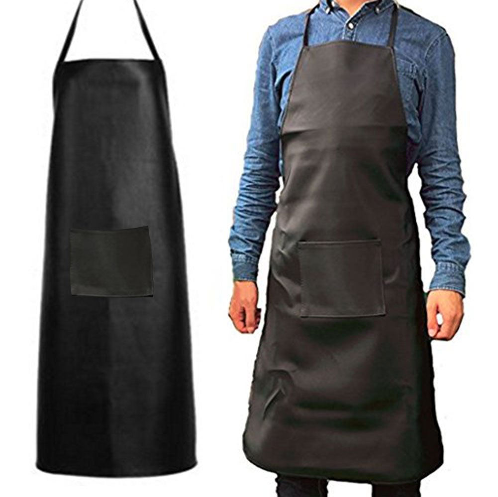 Heavy Duty Waterproof Rubber Vinyl Apron Men-Best for Staying Dry When Dishwashing, Lab Work, Butcher, Cleaning Fish, Oil and Stain Proof, alkali and acid resistance Leather Apron (Black&1Pack