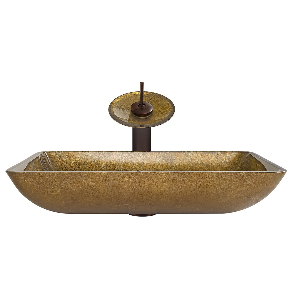 VIGO Rectangular Copper Glass Vessel Bathroom Sink and Waterfall Faucet with Pop Up, Oil Rubbed Bronze