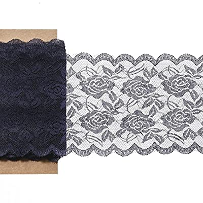 "Ling's moment 6""x22 yard Navy Blue Lace Fabric Roll, Gorgeous & Soft, DIY for Rustic Wedding Decoration Burlap Lace Table runner & Chair Sash Bridal Décor Clothing Lace"