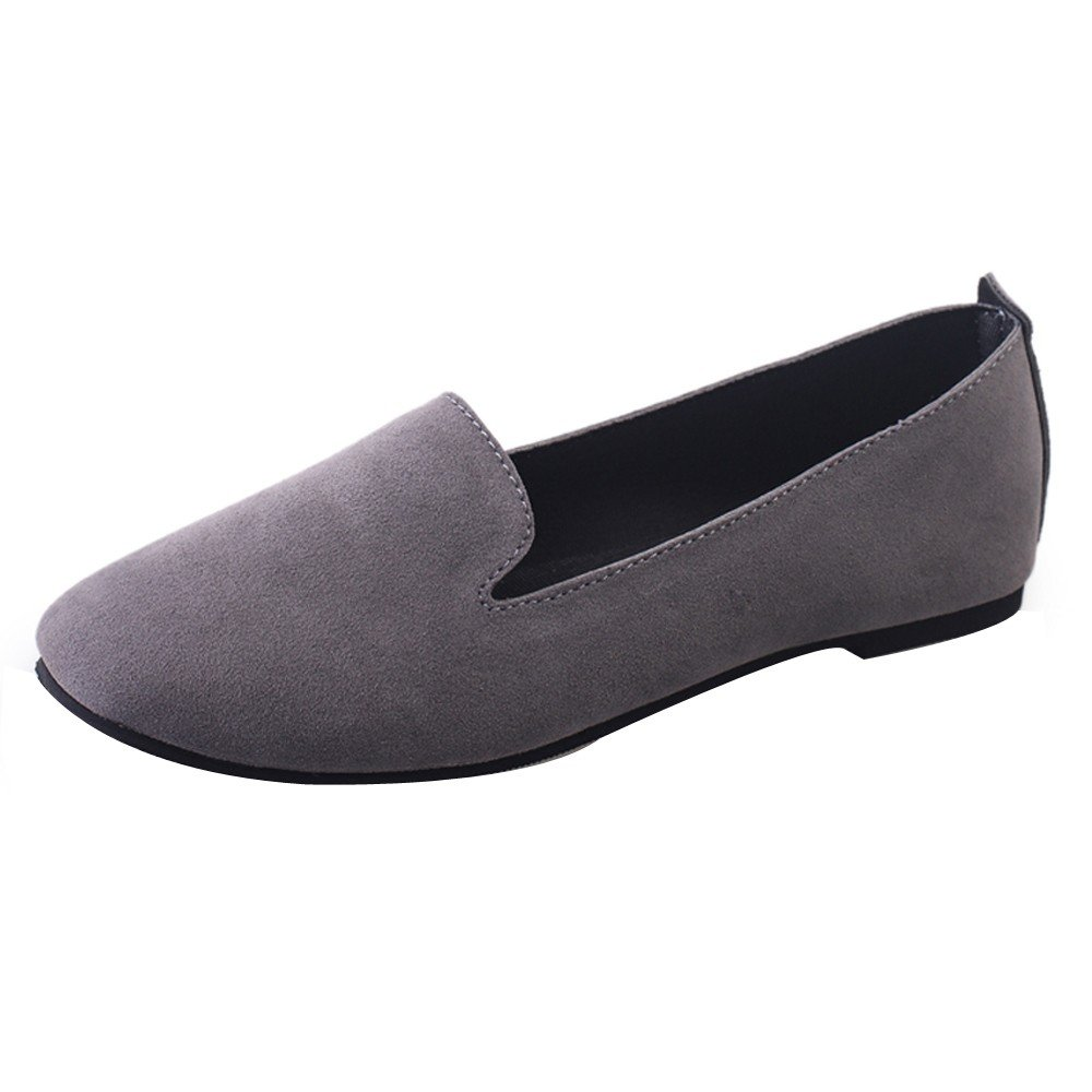ℱLOVESOℱ Women Ladies Slip On Flat Solid Round Toe Shallow Shoes Sandals Casual Shoes Suede Single Shoes Peas Shoes Gray