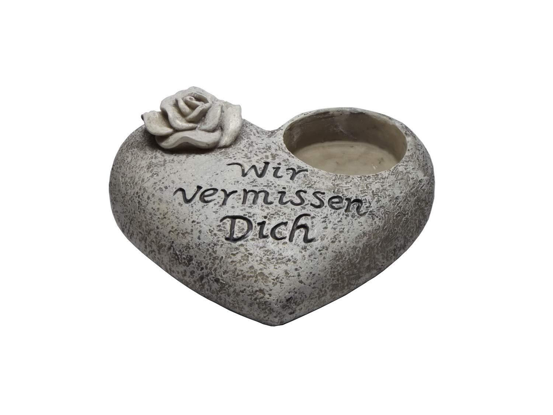 Grabschmuck Herz für Foto Grabdeko Dekoration Wir vermissen Dich Grabstein