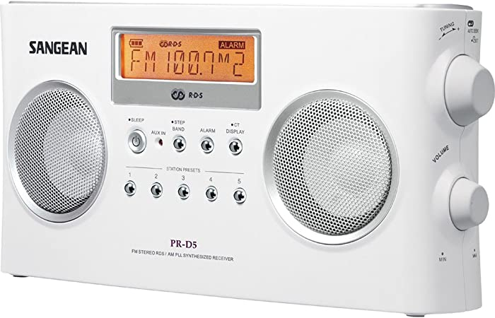 Free Shipping Sangean PR-D5BK AM//FM Portable Radio with Digital Tuning and RD..