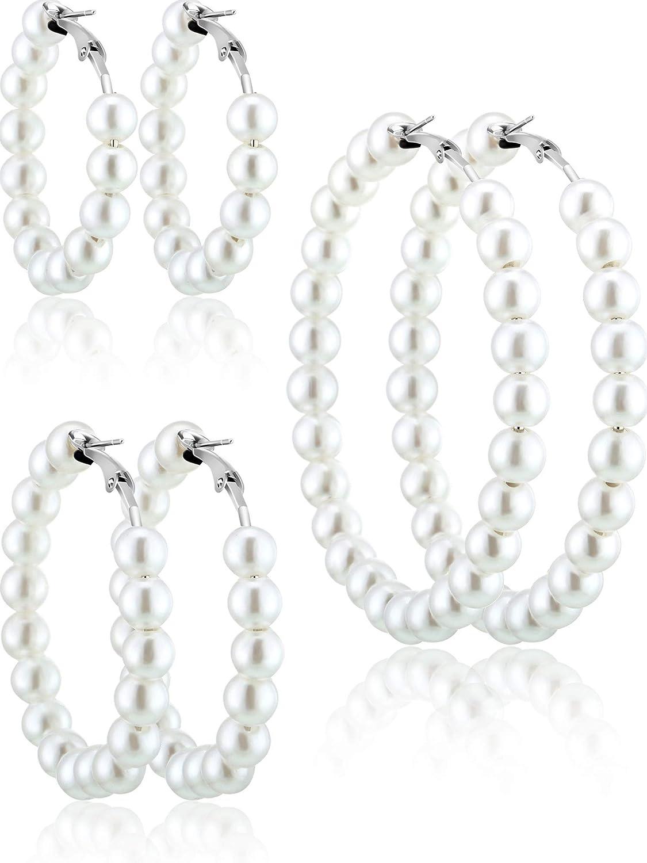 Pendientes de Aro de Perlas de Imitación 3 Pares de Aretes de Perlas para Mujer Regalo de Novias de Niña