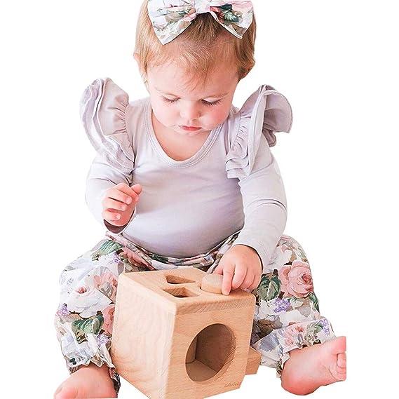 LANSKIRT Ropa para Trajes de Recién Nacido Infantil bebé niños niñas Estampado Floral de Manga Larga