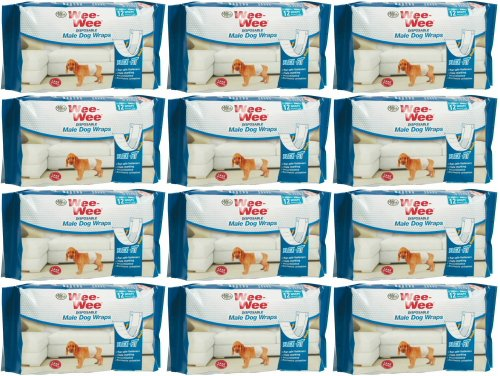 Four Paws Wee-Wee Disposable Male Dog Wraps, X-Small/Small 144ct (12 x 12ct)