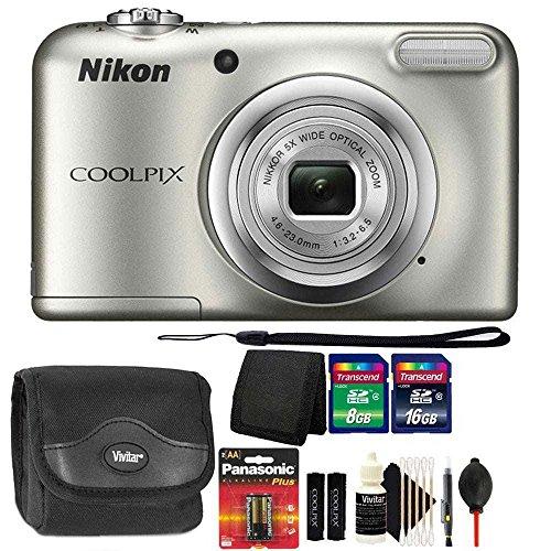 Nikon COOLPIX A10 16.1MP Digital Camera(Silver) + Extra Batteries & Accessories
