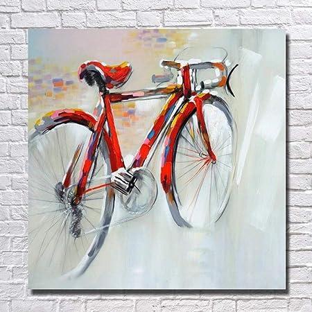 WZYWLH Arte De Pared Pintado A Mano Pintura Al Óleo sobre Lienzo Bicicleta Roja Cuadros para Sala De Estar Decoración del Hogar Sin Marco: Amazon.es: Hogar