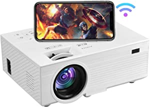 OSEVEN Wi-Fi Mini Projector, 6000 Lux,Full HD 1080P Movie Projectors, Compatible with TV Stick, Video Games, HDMI,USB,TF,VGA, Wireless Mirroring, for iPhone/Android/Tablet