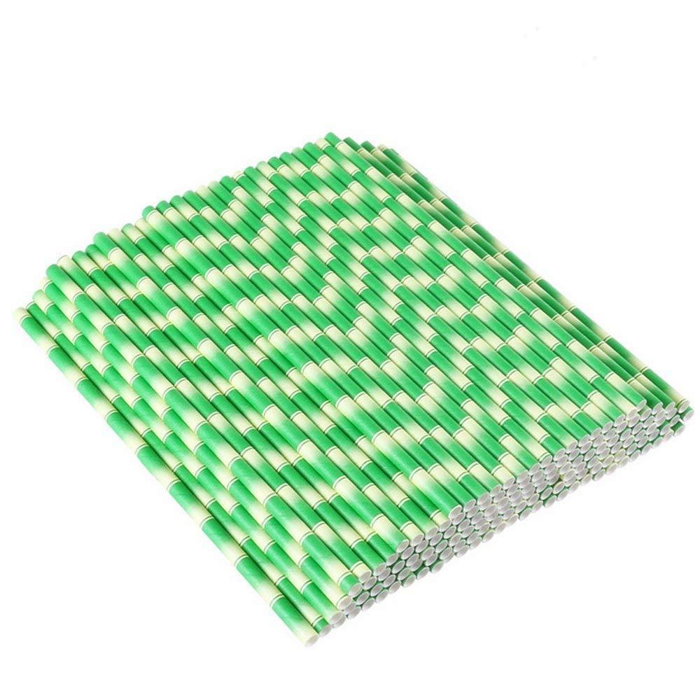 Soochat Eco-Biodegradable ペーパーストロー 竹製ペーパーストロー ジュース シェイク スムージー パーティー用品 B07G4238CC