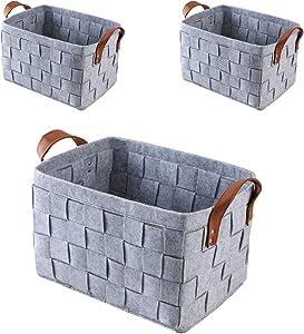 Perber Large Foldable Storage Bin Basket Set [3-Pack] Collapsible Sturdy Felt Fabric Storage Box Cube W/Handles for Organizing Shelf Nursery Home Closet & Office - Grey 151010 Set of 3