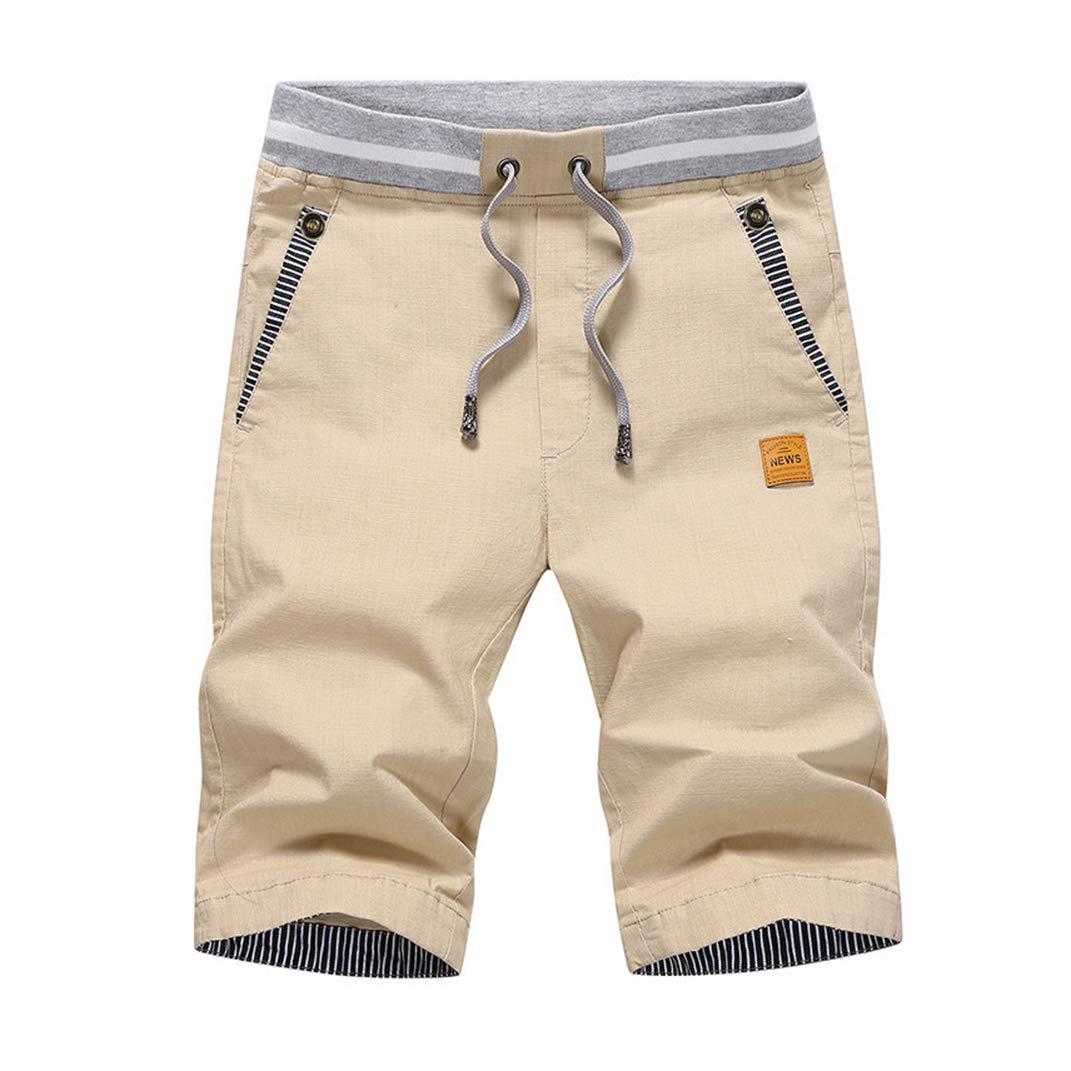 GuaziV Mens Shorts Casual Classic Fit Drawstring Summer Beach Shorts with Elastic Waist and Pockets Cotton (175-200lb, Khaki)
