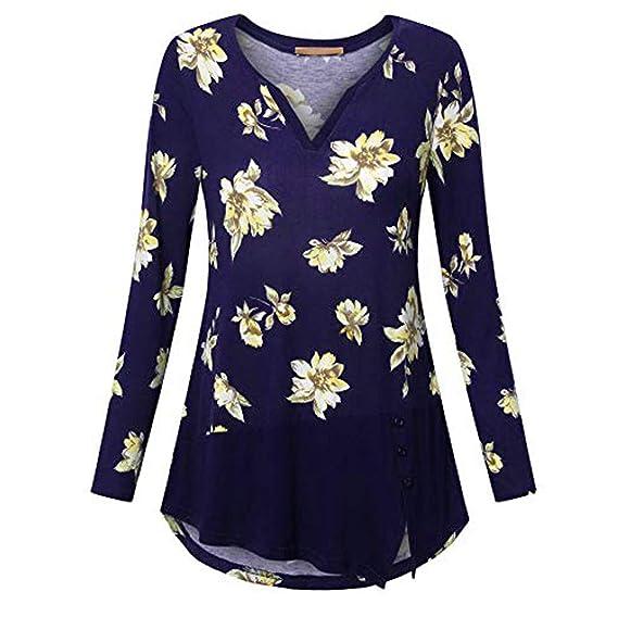 Camisas para Mujer Floral Cuello En V Mujeres Camisa Elegante Blusa Mangas Largas Camiseta Polsillo Camisa Jersey Blusa Tops Beladla: Amazon.es: Ropa y ...