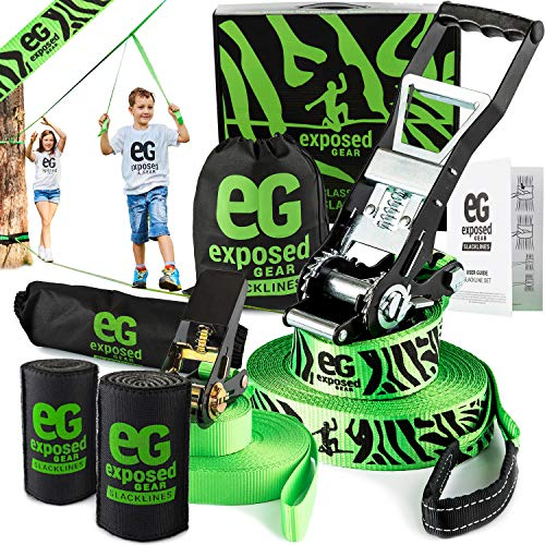 (Slackline Kit with Training Line Tree Protectors High Grade Ratchet + Cover Arm Trainer Set Up Instruction Booklet and Carry Bag | Complete 60 ft Slack Line Set | Perfect Slackline For Kids and Adults)