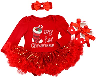 My First Christmas Reindeer Elk Costume for Baby Girl Set Romper Fancy Tutu Dress Outfit Party Princess Clothes 3pcs