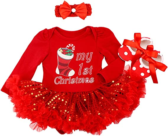 Xmas Toddler Kid Baby Girls My 1st Christmas Pageant Tutu Dress Princess Clothes