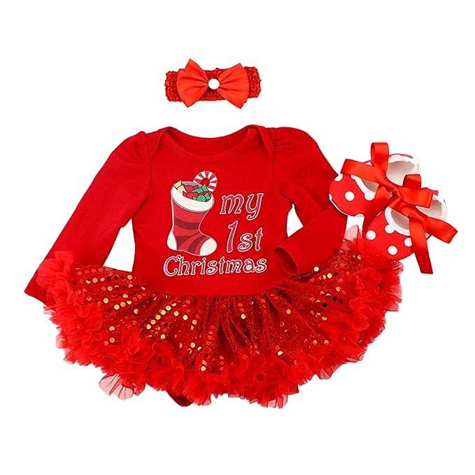 6b6bfc547 My First/1st Christmas Outfit Newborn Baby Girls Romper Tutu Dress Xmas  Tree/Socks