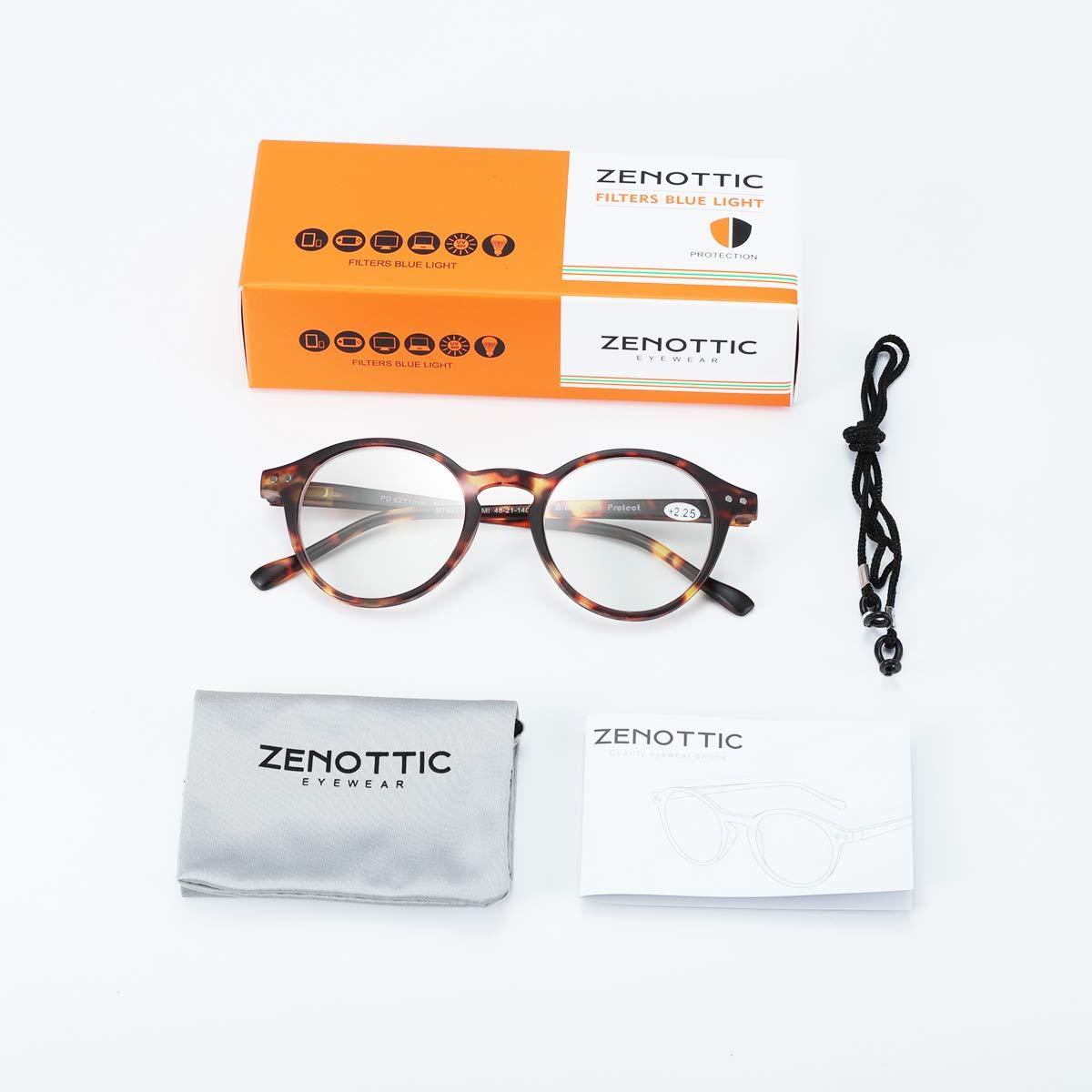 Zenottic Gafas de Lectura de Bloqueo de Luz Azul Lentes Antirreflejos Gafas Retro de Ligero Marco Redondo para Hombres y Mujeres