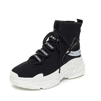 MYJ zapatillas mujer Calcetines Zapatos Zapatos De Lona Zapatos Altos Calzado Deportivo Tejido Al