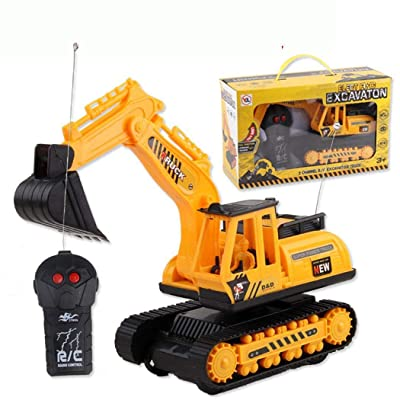 Kionme Car Excavator Kids Toy Crawler Digger Electric 2 Channel Remote Control Activity Play Centers : Baby