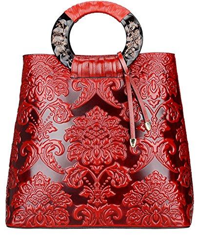 PIJUSHI Designer Floral Purses Women's Top Handle Handbag Leather Tote Bag (6013, Red Flower)