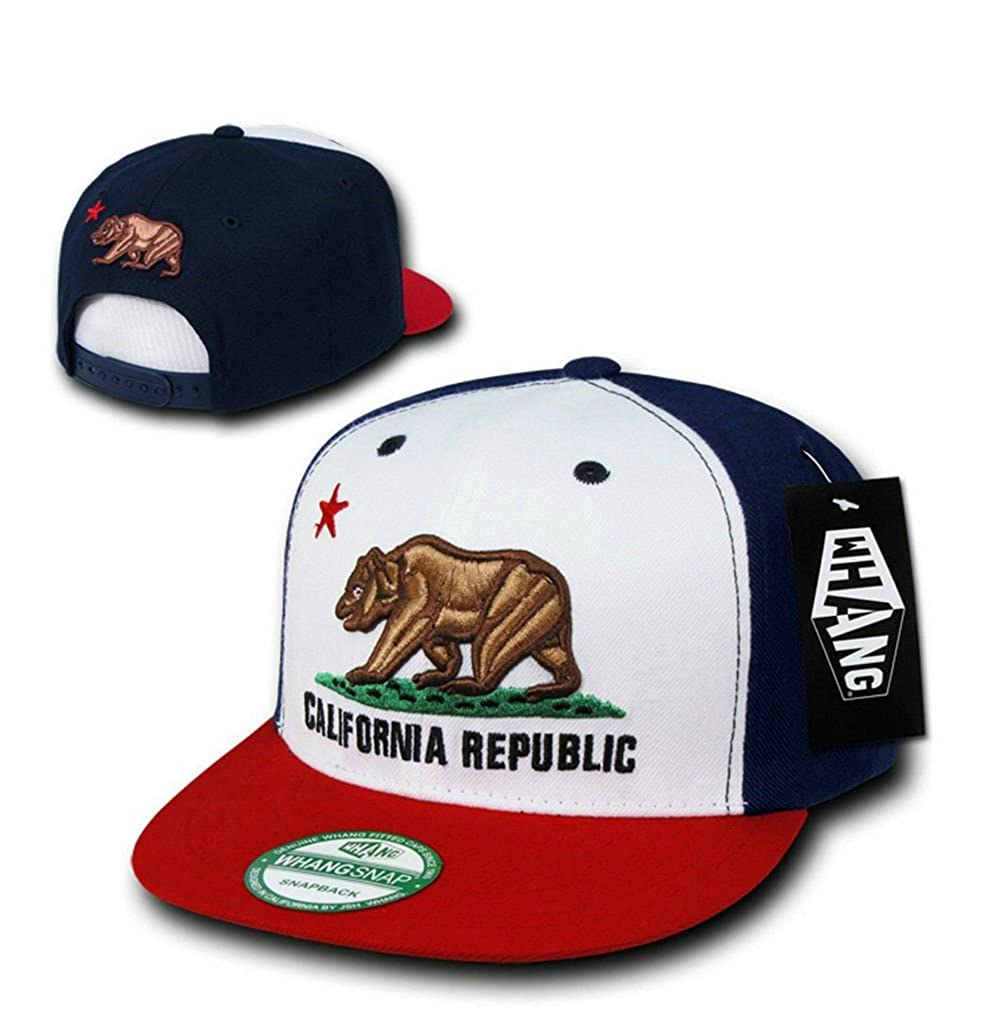 2036aa0f4f3eac Whang California Republic Snapback Hat (Red-White-Blue) at Amazon Men's  Clothing store: Novelty Baseball Caps