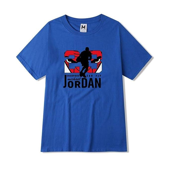 sale retailer 51aa7 35ac0 Jordan 23 Mens T-Shirt Printing Pure Cotton Stylish Summer Slender Man  Round Collar Blue