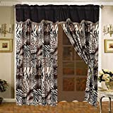 4 Piece Safari Curtain set - Leopard, Tiger Zebra, Etc - Multi Animal Print Bed in a Bag Brown Black Beige Micro Fur Set with attached Valance and Sheers