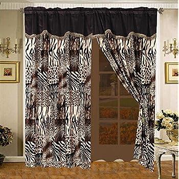 Amazon Com 4 Piece Curtain Set 2 Jungle Safari Brown