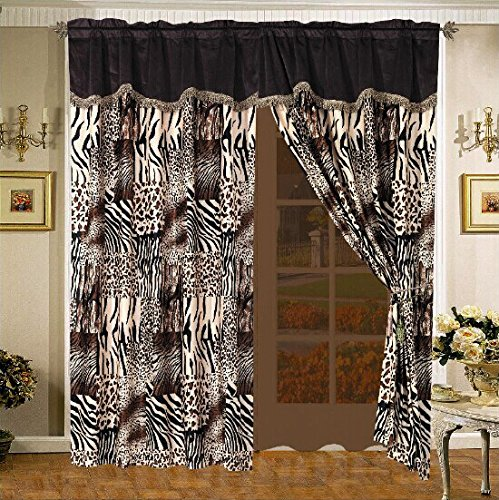 4 Piece Safari Micro Fur Curtain set - Zebra, Giraffe, Leopard, Tiger Etc - Multi Animal Print Brown Beige Black White Window Panel Set with attached Valance and Sheers