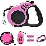 PETIMP STORE Pink Retractable Dog Leash 16ft with Dog Waste Bag Dispenser Dog Bowl for Small Medium Dog (6 PCs)