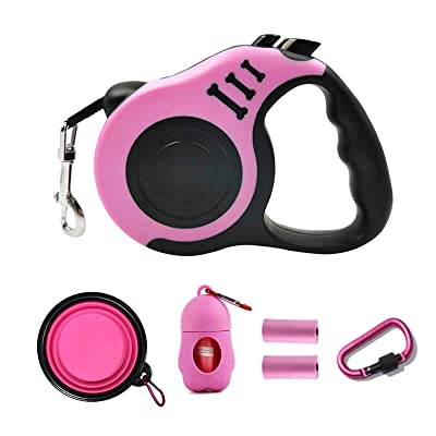 PETIMP STORE Pink Retractable Dog Leash 16ft