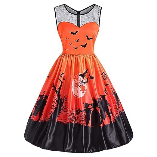 df2d69a31da Amazon.com  DressLily Sleeveless Spliced Vintage Halloween Dress Print  Round Collar A-line Women Costume Halloween  Clothing