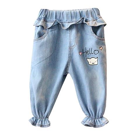MAOMAHREWW - Pantalones vaqueros de cintura con volantes ...