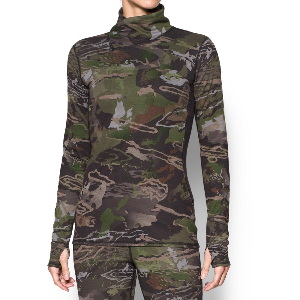 Under Armour Women's Mid Season Wool Top,Ridge Reaper Camo Fo (943)/Metallic Beige, XX-Large by Under Armour