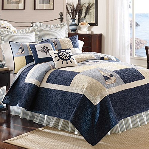 Coastal Life Luxe European Size Pillow Sham from the Sailing Bedding Collection (Bedding Coastal Life)