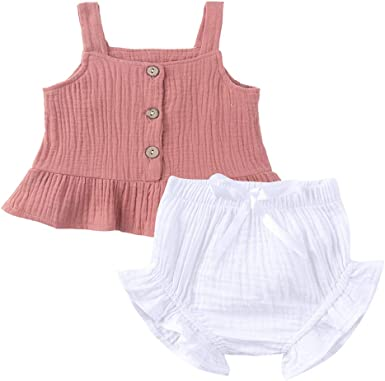 Girls Summer Strappy Vest Tops Shorts Trouser Kids Casual Outfits Set Clothes