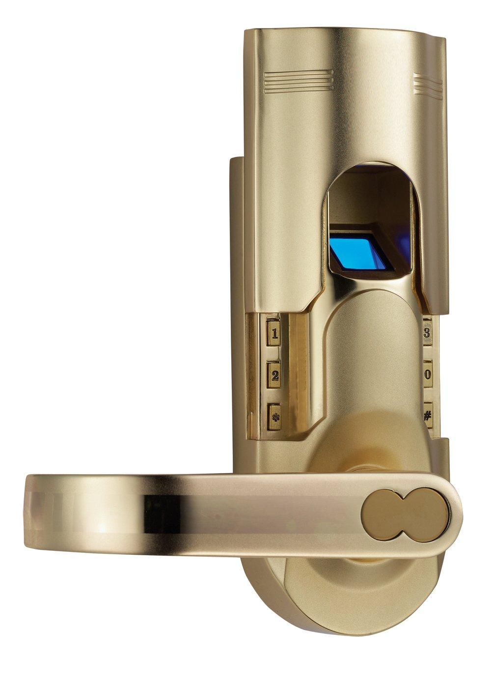 Digi Biometric Fingerprint Door Lock 6600-86 Left Right Handle - Electronic Door Lock ideal for Entry Door - Unlock with Fingerprint, Passcode, Key - Silver Gold Color