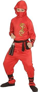 Amakando Atuendo Samurai Traje Ninja Rojo para niño L 158 cm ...