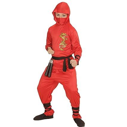 Amakando Atuendo Samurai Traje Ninja Rojo para niño S 128 cm ...