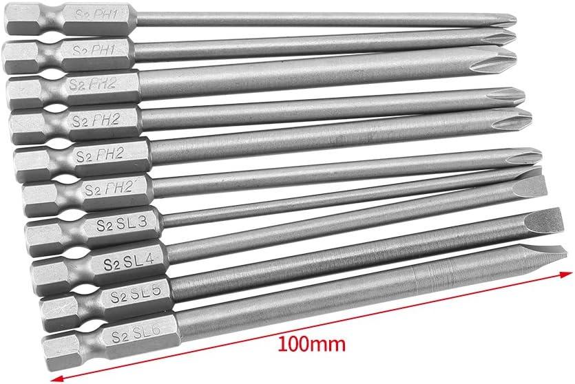 10Pcs 1//4/'/' Magnetic Hex Shank PH2 Phillips Screwdriver Drill Bits Se //m