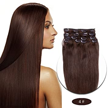 Amazon.com  RightOn 22   Long Straight Full Head Clip in Synthetic Hair  Extensions for Women Like Real Hair 7pcs Dark Brown (4 )  Beauty 69cbb5dd15