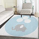 Elephant Nursery Rug Kid Carpet Little Baby Elephant with Big Balloons Happiness Funny Icon Home Decor Foor Carpe 3'x5' Mauve Pale Blue White